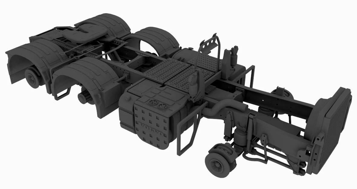 6×2/4 tag chassis for Swedish truck